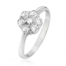 Prstan iz srebra čistine 925 - cvetlica iz prozornih okroglih cirkonov