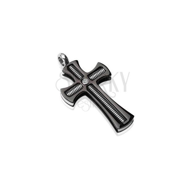 Obesek iz kirurškega jekla - črn križ s palico z navojem in prozornim cirkonom