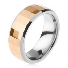 Volframov prstan - dvobarven videz, geometrično izbrušen pas v zlati barvi