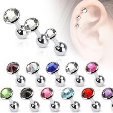 Jeklen piercing za uho, barven cirkon na okroglem podstavku, 5 mm