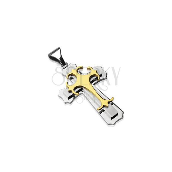 Obesek iz kirurškega jekla - trojni križ v zlati in srebrni barvi