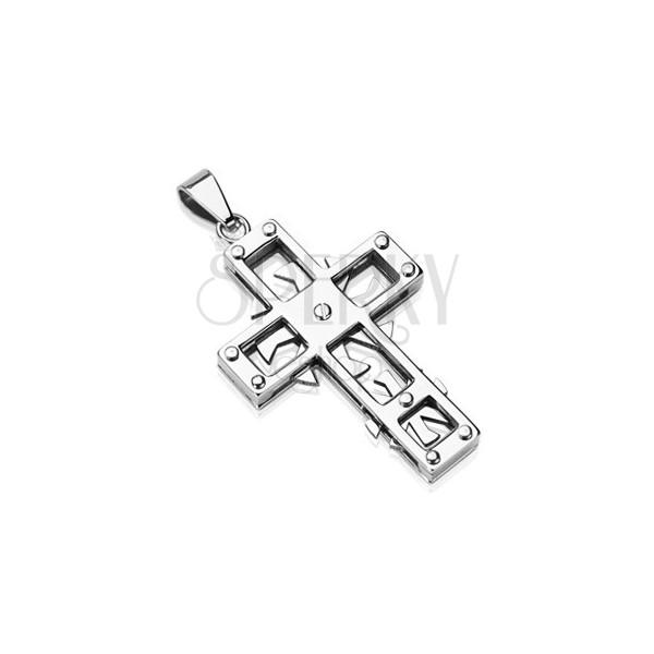 Obesek iz nerjavečega jekla - križ z vrtljivimi kolesi