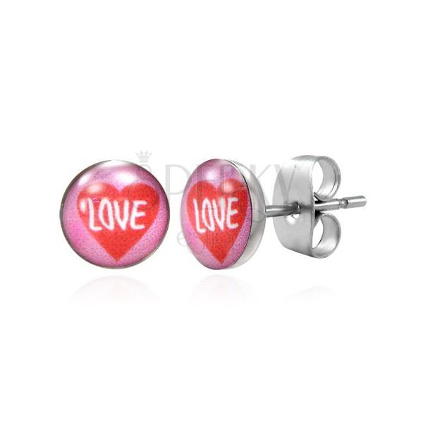 Vtični jekleni uhani - rdeče srce, napis LOVE