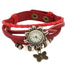 Zapestna ura, okrasna oblika, rdeč pleten pašček, okrasni valjčki