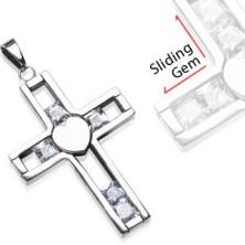 Obesek iz jekla - križ s premičnimi kamni
