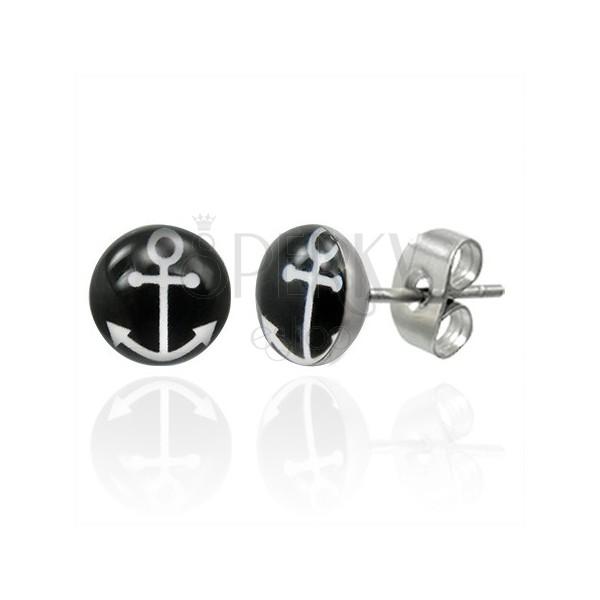 Vtični jekleni uhani s simbolom belega sidra na črnem krogu