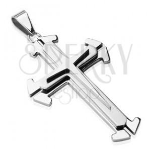 Jeklen obesek srebrne barve - trojni križ