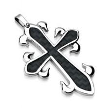 Obesek iz kirurškega jekla - križ z vzorcem iz črnih vlaken
