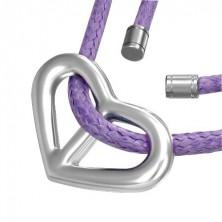 Obesek v obliki srca na vijoličasti vrvici