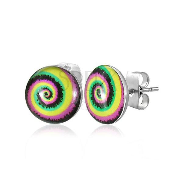 Vtični jekleni uhani - barvna spirala
