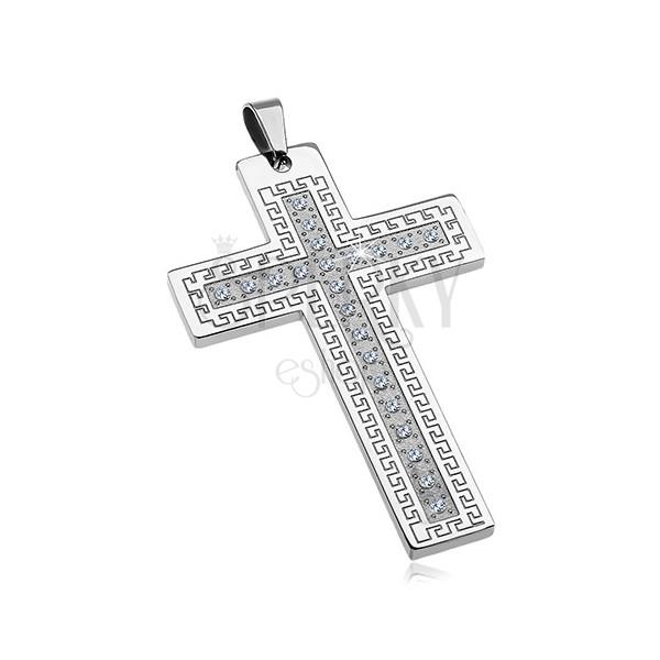 Obesek iz kirurškega jekla - velik križ s cirkoni in grškim ključem