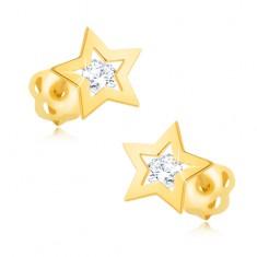 Uhani iz rumenega 9K zlata - sijoča kontura zvezde, prozoren cirkon