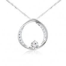 Ogrlica - verižica in krog s prozornim okroglim cirkonom, srebro čistine 925