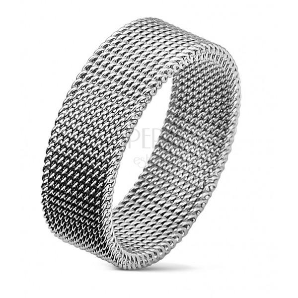Jeklen prstan srebrne barve z mrežastim vzorcem