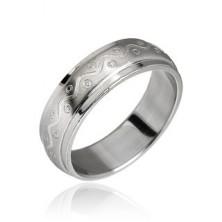 Vzorčast jeklen prstan - valovita črta in pike