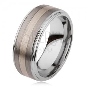 Sijoč prstan iz volframovega karbida z matirano površino, dvobarven progast motiv