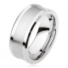 Prstan iz volframa v srebrni barvi, mat sredinski pas, sijoči robovi