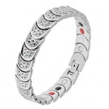 Jeklena zapestnica srebrne barve, polkrogi, motiv kroglic, magneti
