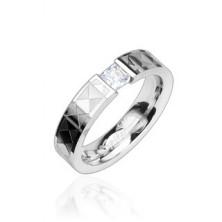 Jeklen prstan - prozoren kamenček, vzorčast trak