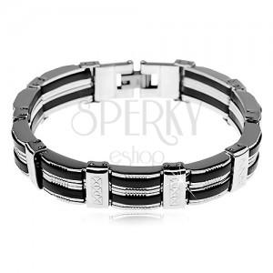 Zapestnica iz jekla, proge v srebrni barvi, črni gumijasti deli, zareze
