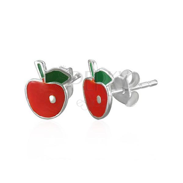 Uhani iz srebra čistine 925 - rdeče jabolko z listom