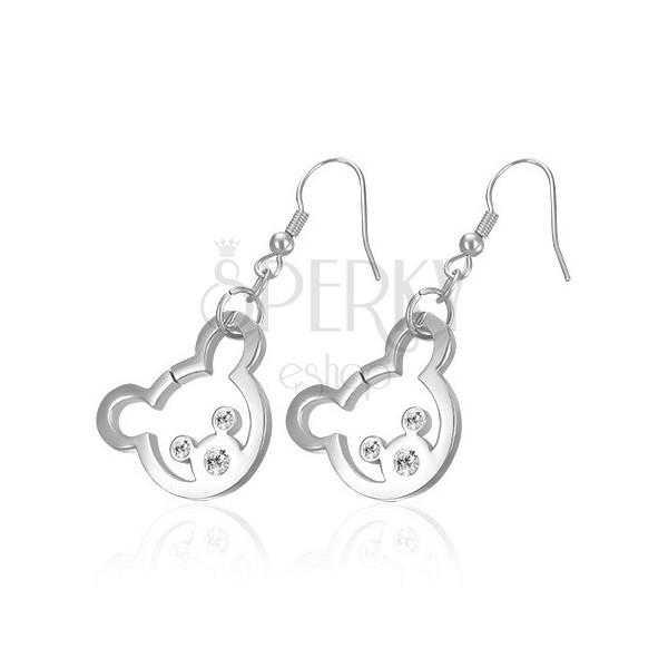 Uhani iz nerjavečega jekla v srebrni barvi - medvedek z očmi in nosom iz cirkonov