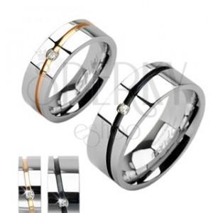 Jeklena poročna prstana srebrne barve, zlata ali črna proga s kamenčkom