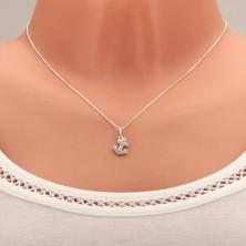 Ogrlica iz srebra 925, obesek sidro z vdelanimi prozornimi kamenčki