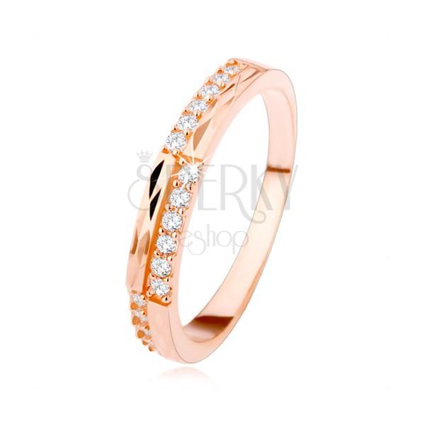 Srebrn poročni prstan 925 bakrene barve, prozorni cirkoni in rombasti izrezi