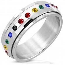Sijoč jeklen prstan – vrtljiv sredinski del, mavričast cirkon