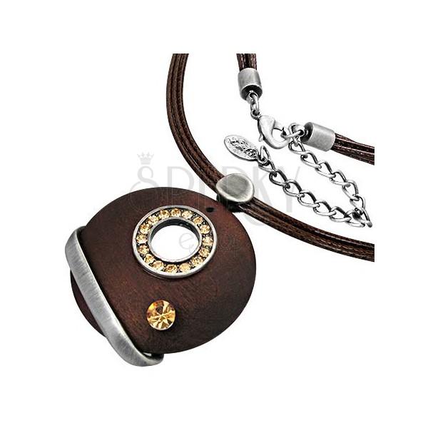 Modna ogrlica z obeskom - krog iz cirkonov