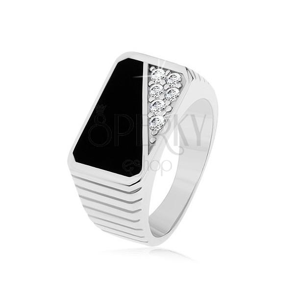 Prstan iz srebra 925, prečne zareze, pravokotnik - črna glazura, prozoren cirkon