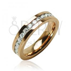 Jeklen prstan zlate barve s kamenčki