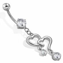 Jeklen piercing za popek - obrisa srca z visečimi cirkončki