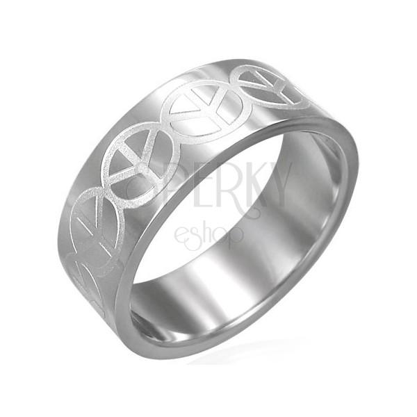 Prstan iz nerjavečega jekla s simbolom za mir