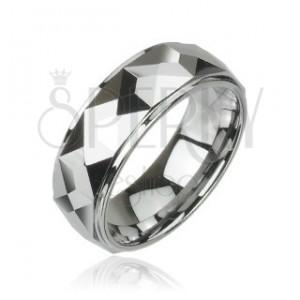 Volframov prstan z izrezanimi oglatimi prizmami, visoki sijaj, 8 mm