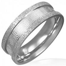 Peskan jeklen prstan - vzorec grškega ključa