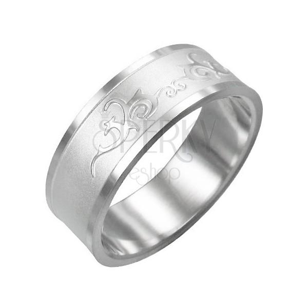 Prstan iz nerjavečega jekla - bleščeč ornament