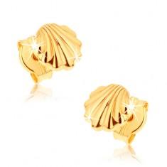 Uhani iz rumenega 9K zlata - sijoči morski školjki