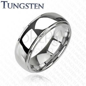Bleščeč prstan iz volframa z izbočenim sredinskim delom