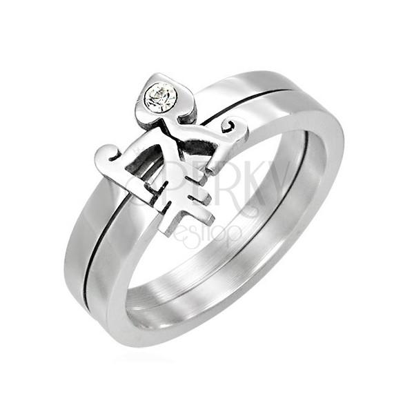 Dvodelen prstan z ribjo kostjo in kamenčkom