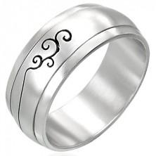 Vrtljiv prstan iz nerjavečega jekla z okrasom