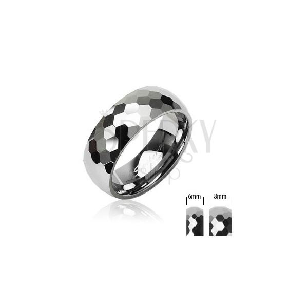 Volframovov obroček z majhnimi šesterokotniki, 8 mm