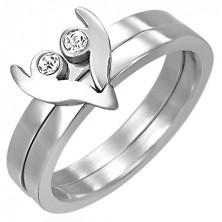Dvodelen prstan iz nerjavečega jekla - srce z dvema kamenčkoma