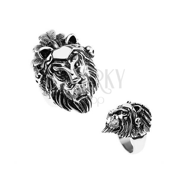 Prstan iz jekla 316L, srebrne barve, levja glava, naglavni obroč s peresi, lobanje