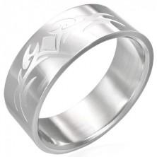 Bleščeč prstan iz nerjavečega jekla z mat ornamentom