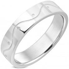 Prstan iz nerjavečega jekla srebrne barve – val, 6 mm
