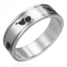 Mat prstan iz nerjavečega jekla - srci in puščica