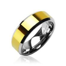 Prstan iz volframa z zlato sredino