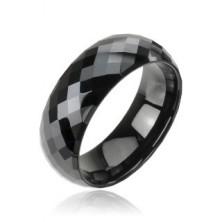 Črn prstan iz volframa z disko vzorcem